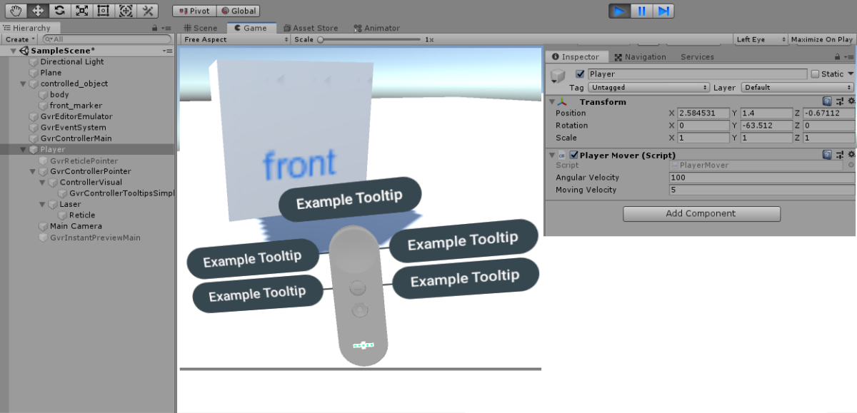VR:Unity空間内をDayDreamコントローラーで歩く5(できました!)